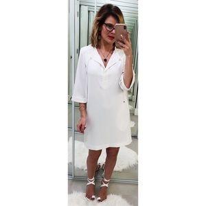 Trina Turk White Bertina Split Neck Shift Dress